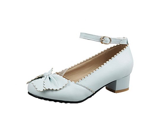 Amoonyfashion Femme Boucle Bas Talon Pu Solide À Bout Pointu Pompes-chaussures Bleu