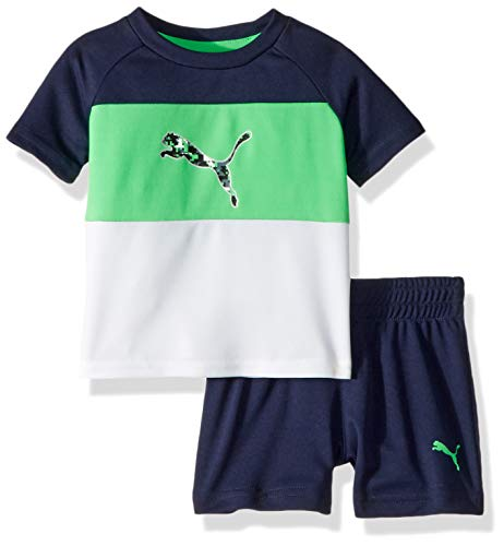 PUMA Baby Boys' 2 Piece Tee & Short Set, Field Green, 12M