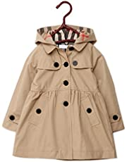 Colorful House Girls' Trench Coat, Hooded Jacket with Button