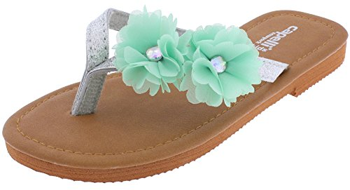 Capelli New York Girls Flip Flops with Chiffon Flowers and Gem Centers Mint 10/11