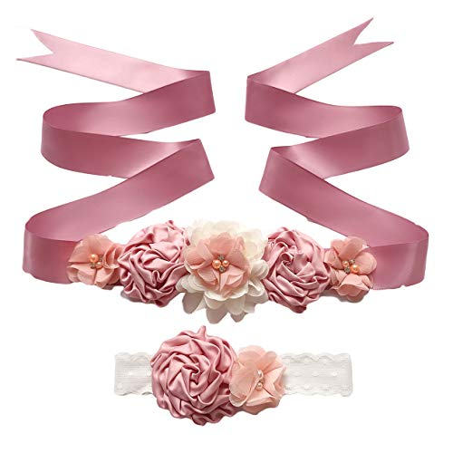 (Maternity Flower Sash Belt Flower Girls Dress Belt Bridal Floral Pregnant Sash JB29 (Mauve-Peach))