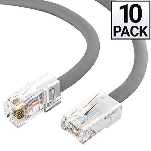 0.5' Portfolio - GOWOS Cat5e Ethernet Cable (10 Pack - 50 Feet) Gray - 24AWG Network Cable with Gold Plated RJ45 Non-Booted Connector - 10 Gigabit/Sec High Speed LAN Internet/Patch Cable - ETL Listed