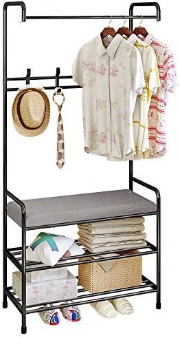 FKUO Entryway Hall Tree, Multifunction Coat Rack Shoe Bench, Storage Shelf Organizer, Hangers with cushion, Living Room Furniture