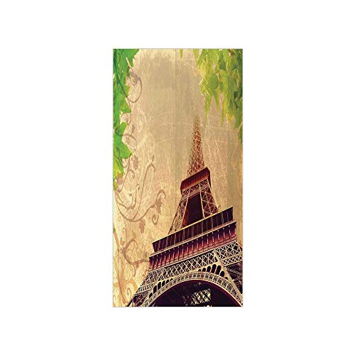 (3D Decorative Film Privacy Window Film No Glue,Eiffel Tower,Eiffel Tower and Tree Leaves on Grunge Background with Swirls and Scrolls,Sepia Beige,for Home&Office)