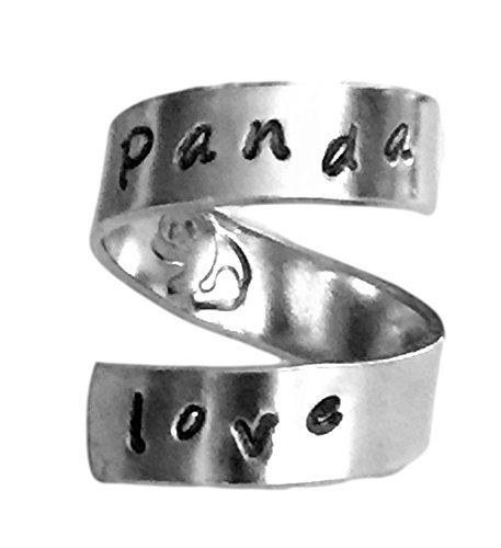 Panda Love Hand Stamped Aluminum Spiral Ring by Hand Trades