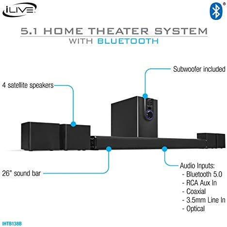 iLive 5.1 Home Theater System with Bluetooth, Wall Mountable, 26 Inch Speaker with 4 Satellite Speakers (IHTB138B),Black 41IeQasOFIL