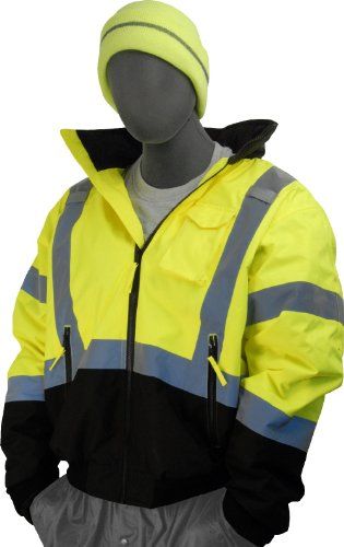Majestic Hood Athletic (Majestic Glove 75-1313 PU Coated Polyester High Visibility Bomber Jacket with Black Bottom and Fix Quilted Liner, Large, Yellow)