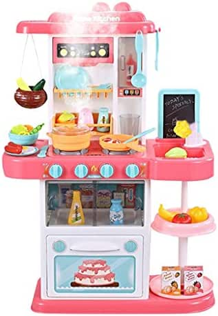 FlyKits 43PCS Kids Kitchen Playsets with Lights and Sounds for Boys Girls, Play Kitchen Set Kid Large Toys Tableware Dishes Good Gift for Children, Including Cooking Sound, Vegetables, Food (Pink)