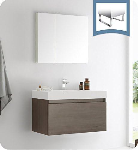Fresca Mezzo 36 Gray Oak Wall Hung Modern Bathroom Vanity w Medicine Cabinet