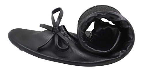 MR.SWEETIE Womens Wedding Gift Foldable Portable Flexable Outsole Roll up Ballet Flat Shoes (Small, Black)