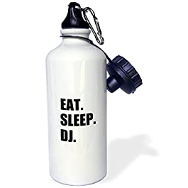3dRose Eat Sleep DJ – passionate about Djing – music deejay black text gifts Sports Water Bottle, 21oz, Multicolored