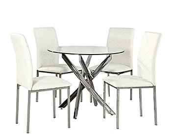 Pieds Yakoe Salle 4 À Chaises Ronde En Table Manger Modernes Verre iXuOPwZTk