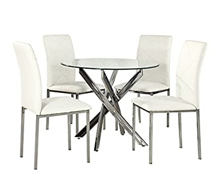 YAKOE Glass Round Dining Table Set And 4 Chairs Modern Chrome Legs, Faux  Leather,