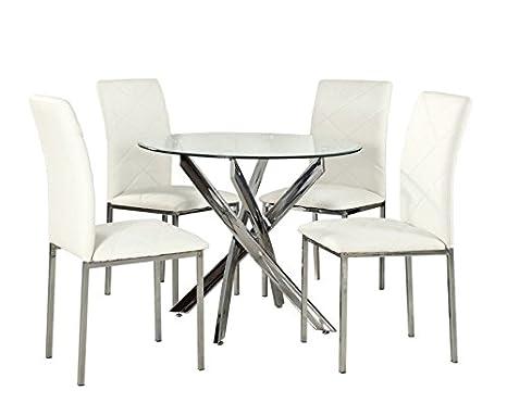 Yakoe Table Ronde En Verre Salle A Manger 4 Chaises Modernes Pieds