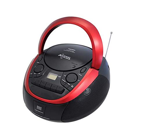 Axess PB2711 Portable AM/FM Radio - CD/MP3 Cassette - USB Boomox with AUX-in and Headphone Jack