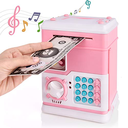 Rainbrace Multifunctional Money Bank,Security Piggy Bank Electronic Mini ATM Password Auto Insert Cash Coin Can Play Smart Voice & Songs & Stories Birthday Gifts Toy Gifts for Kids(Pink)