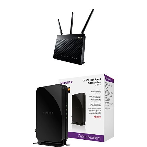 ASUS (RT-AC68U) Wireless-AC1900 Dual-Band Gigabit Router & NETGEAR DOCSIS 3.0 High Speed Cable Modem Certified for Comcast XFINITY, Time Warner Cable, Cox, Charter & more(CM500-100NAS) image