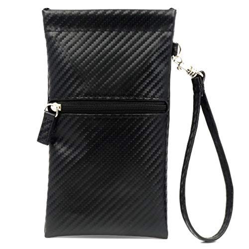 Elegant Soft Sunglasses Case Wristlet Pouch with Zipper Eyeglasses Pouch w/Cloth, Large fits Smart Phones (CT8W Woven Black)