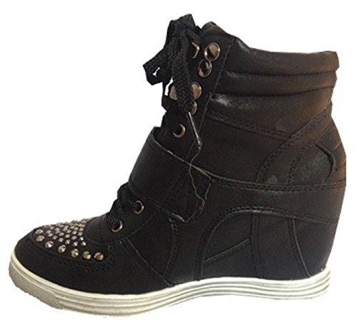 Fille 12 Talon Fashionfolie Noir Femme Chaussures Compensées Baskets Lacet Montante Axqx47Y