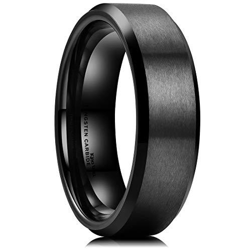 King Will Basic 6mm Black Tungsten Wedding Band Ring Matte Finish Center Beveled Polished Edge 6