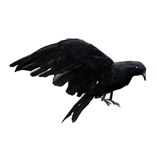 (SODIAL Halloween prop feathers Crow bird large 25x40cm spreading wings Black Crow toy model toy,Performance prop)