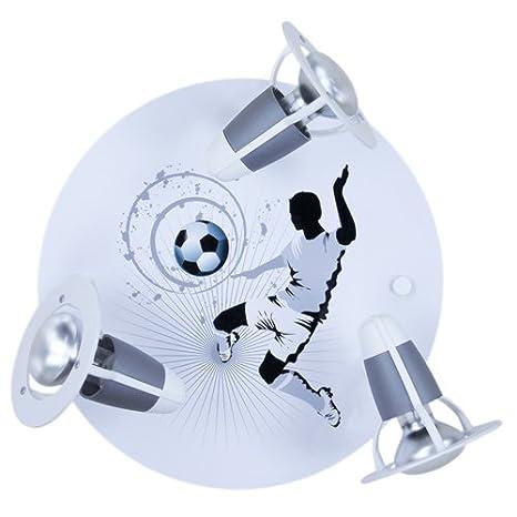 Pared/techo 3-lámpara de techo balón de fútbol color: plata/blanco
