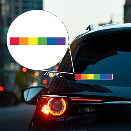 Traverse City MI Michigan Grand Traverse County Rainbow Pride Flag 6 Stripes Pride Flag Euro Decal Bumper Sticker 3M Vinyl 3 x 5