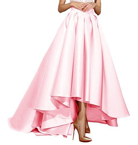 Fluorodine High Low Satin Skirt For Women High Waist Pleat A Line Dress US16 Blushing Pink