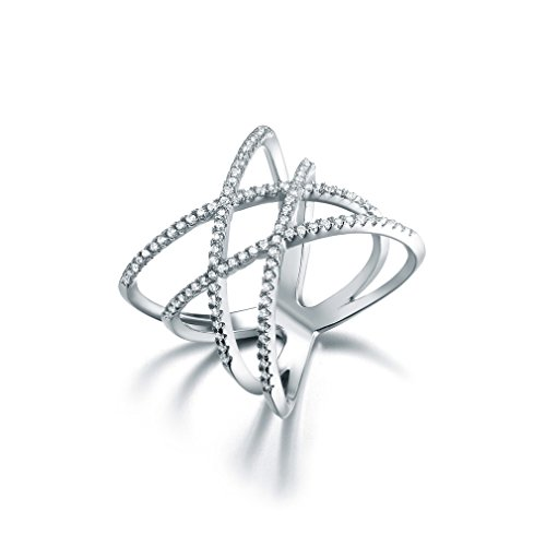 SHINCO Double Cross CZ Paved 18k White Gold Plated Trendy Party Rings Wide Band for Women Girls, Size 6
