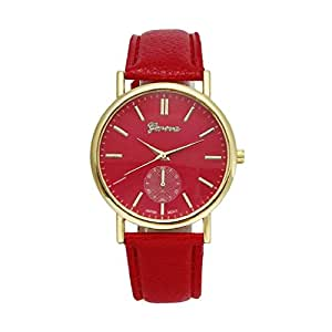 Baishitop Luxury Watch,Unisex Designer Watches,With Vogue Analog Quartz,PU Leather&Alloy(Red)