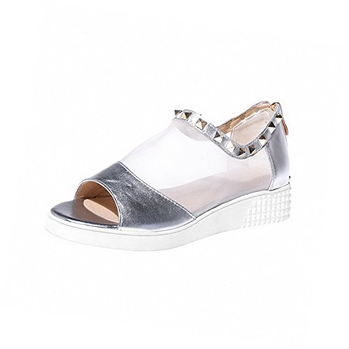 AmoonyFashion Womens Blend Materials Solid Zipper Open-Toe Low-heels Sandals Silver