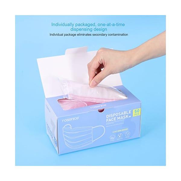 HEALIFTY Máscaras desechables - 50 piezas de filtro de bacterias de polvo Máscaras de gancho - 3 capas de tela no tejida - Dental, quirúrgico, médico, comercial, antialérgico 5