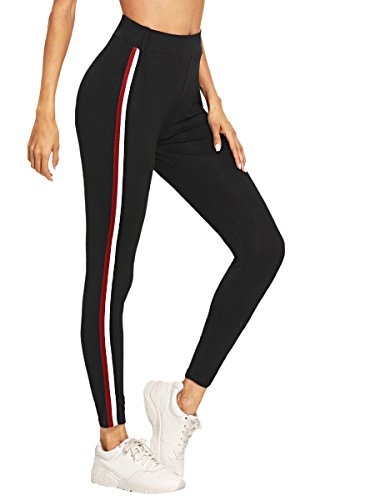 SweatyRocks Workout Leggings for Women Stretchy Skinny High Waist Striped Side Ankel Leggings Tights Black#7 M