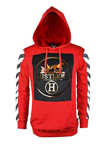 SCREENSHOTBRAND-S51732 Mens Hip Hop Premium Fleece Hoodie – Pullover Long Sleeves Fashion Hoody Embossed Hustler Print – Red – Small