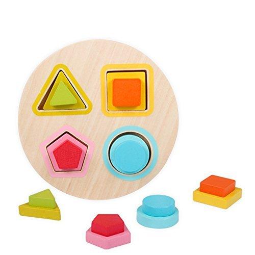 Baby Toys Mini形状Choppingブロックセットカラフルなジオメトリ設計形状数学木製Montessori早期教育ブロック   B0743H5BRN