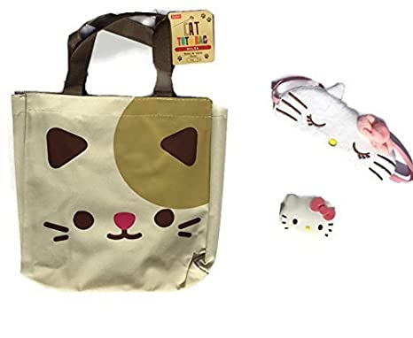 Amazon.com: Hello Kitty Pill Box/Storage Case with Removable Compartments, Cute Eye Shade Travel Mask Cover For Sleeping and Nap and Kitty Canvas Tote ...