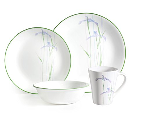 Corelle 16 - Piece Vitrelle Glass Shadow Iris and Break Resistant Dinner Set, Green/Purple