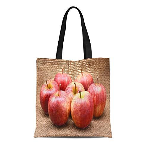 Semtomn Canvas Tote Bag Shoulder Bags Green Fruit Red Royal Gala Apples Brown White Delicious Women's Handle Shoulder Tote Shopper Handbag