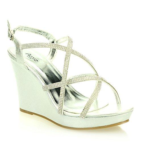 Mujer Señoras noche casual cómodo tacón de cuña diamnate sandalia zapatos tamaño (Oro, Negro, Plata) Plata