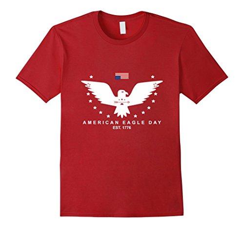 Mens American Eagle Day Flag T-shirt Medium Cranberry