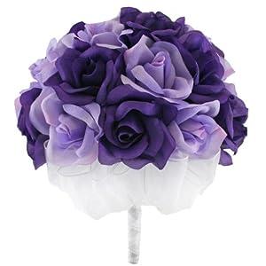 Purple and Lavender Silk Rose Hand Tie (2 Dozen Roses) - Bridal Wedding Bouquet 39