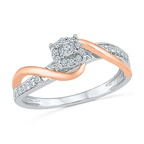 Sterling Silver & 10KT Two Tone White Round Diamond Fashion Ring by D-GOLD