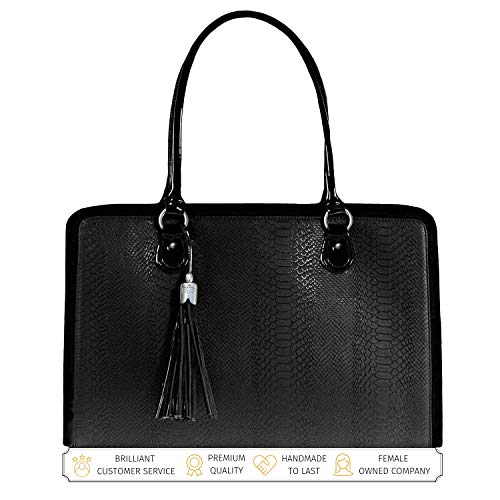 Briefcase 17 Laptop Tote Bag - BFB Laptop Bag for Women - 17 inch Computer Briefcase for Women Handmade Luxury Vegan Leather Designer Stylish Travel Business Shoulder Messenger Work Tote Carrying Computer Case for Laptops - Black