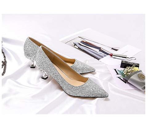 Yukun zapatos de tacón alto Tacones De Aguja Acentuados Tacones De Aguja Puntiaguda con Tacón Alto Cristal Negro con Tacón Zapatos Individuales Hembra Silver