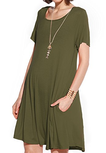 JollieLovin Women's Pockets Casual Swing Loose T-Shirt Dress (Army Green, 2X)