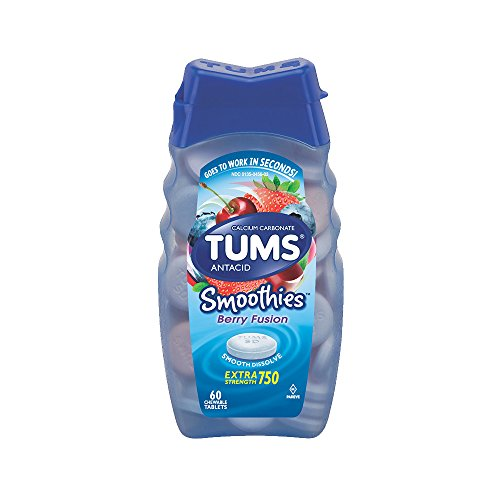 Symptoms 60 Tablets - TUMS Smoothies Berry Fusion Extra Strength Antacid Chewable Tablets for Heartburn Relief, 60 Tablets