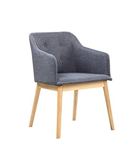 Salesfever Armlehnstuhl Ando Anthrazit Esszimmer Stuhl Mit Stoffbezug Modern Gepolstert Massive Holzfusse Eiche Wohnzimmer Stuhl Sessel Mit