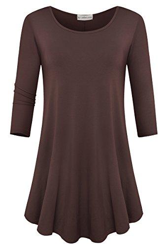 - JollieLovin Womens 3/4 Sleeve Loose Fit Swing Tunic Tops Basic T Shirt (Coffee, 2X)