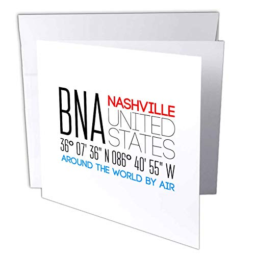 3dRose Alexis Design - Around The World by Air - Splendid Text BNA, Nashville, United States, Location Coordinates - 6 Greeting Cards with envelopes (gc_311119_1)