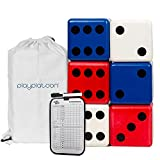 Play Platoon Lawn Dice with Scoreboard - Giant Red White & Blue Wooden Yard Dice Outdoor Game
